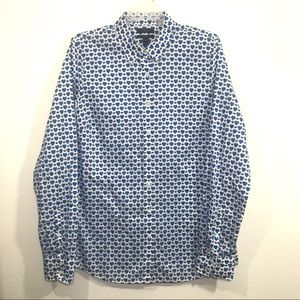J Crew perfect fit blue heart button down shirt